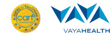 CARF Accredited and Vayahealth logos