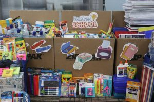 TVS collects over 850 school supplies for local Sharing House
